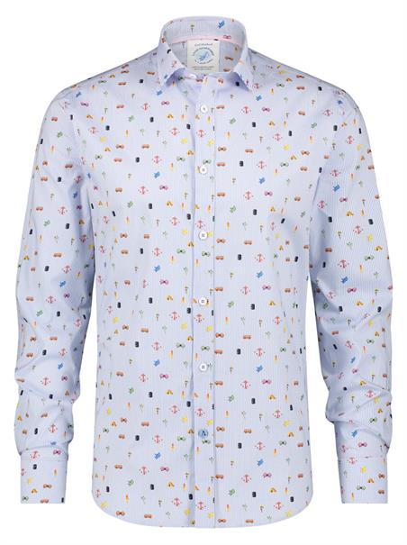 A Fish named Fred casual overhemd Slim Fit 22.02.023 in het Blauw