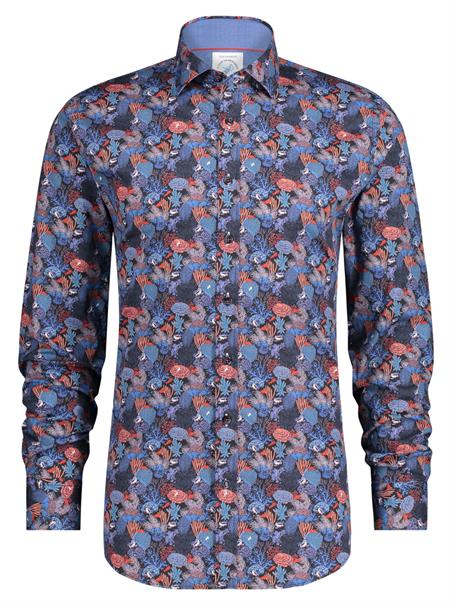 A Fish named Fred casual overhemd Slim Fit 23.01.007 in het Donker Blauw