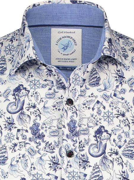 A Fish named Fred casual overhemd Slim Fit 23.01.017 in het Wit/Blauw