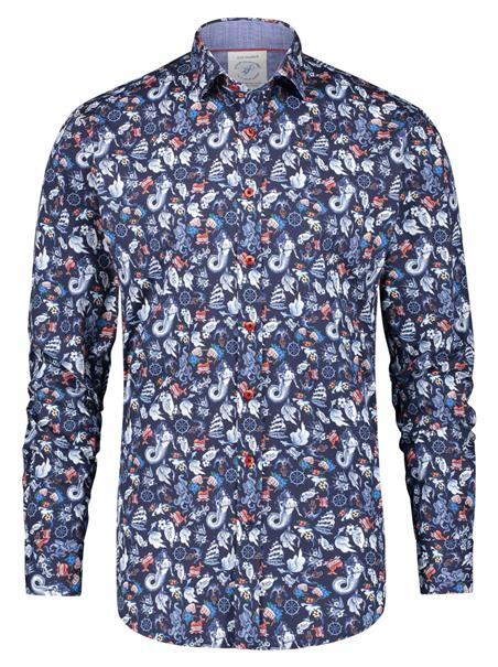 A Fish named Fred casual overhemd Slim Fit 23.01.018 in het Donker Blauw