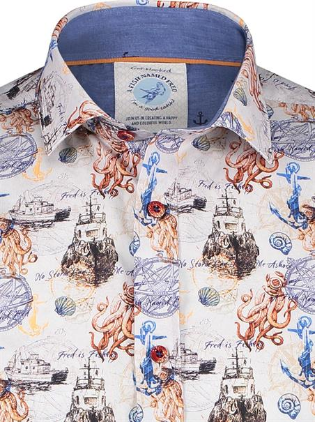 A Fish named Fred casual overhemd Slim Fit 23.02.004 in het Wit/Rood