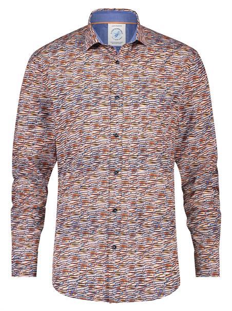 A Fish named Fred casual overhemd Slim Fit 23.02.042 in het Oranje