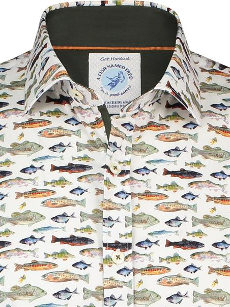 A Fish named Fred casual overhemd Slim Fit 23.02.048 in het Groen
