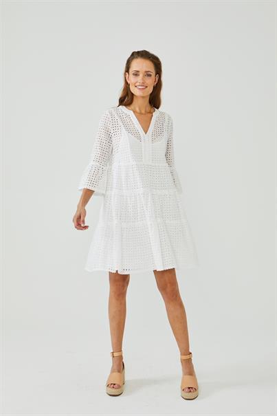 Aaiko jurk KAMPUR BRODERIE C in het Wit