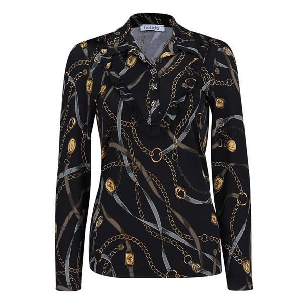 Batida blouse 7970 in het Zwart / Rood