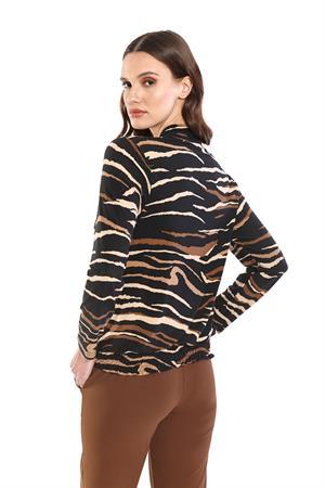 Batida blouse 9181 in het Zwart / Bruin