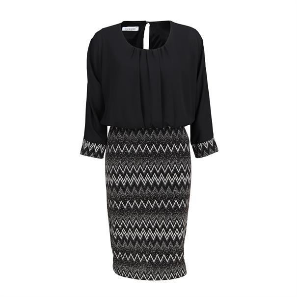 Batida jurk 7947 in het Zwart / Beige