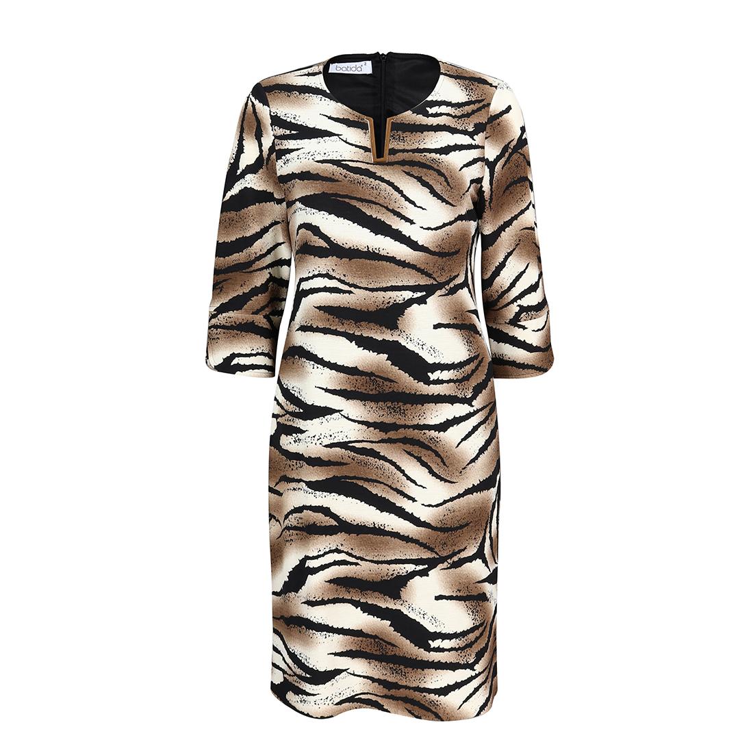 Smit Mode Batida jurk 8047 in het Zwart Beige