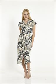 Batida jurk 8873 in het Zwart / Beige
