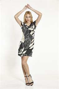 Batida jurk 8916 in het Zwart / Beige
