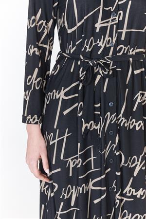 Batida jurk 9285 in het Zwart / Beige