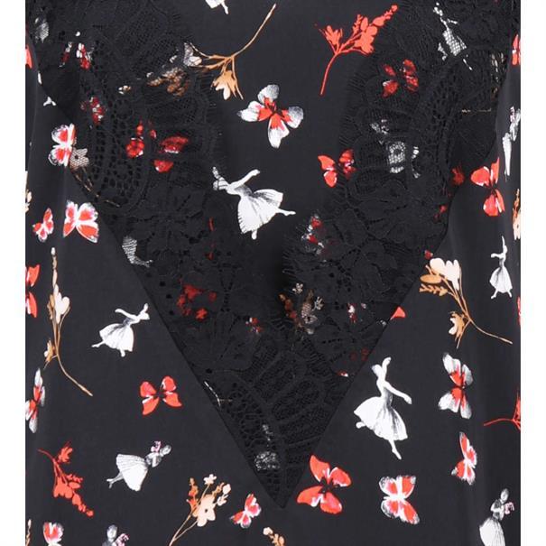blouse w68-061 in het Zwart / Rood