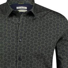 Blue Industry casual overhemd 929-72 in het Donker Groen