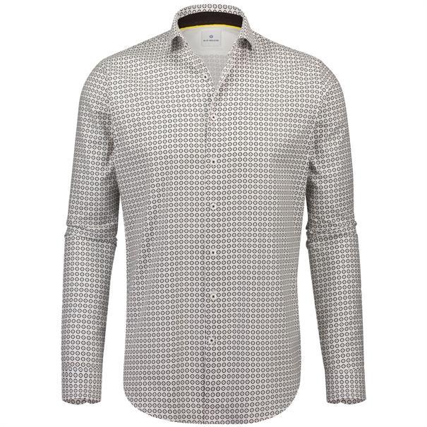 Blue Industry casual overhemd Slim Fit 1056-82 in het Wit/Groen