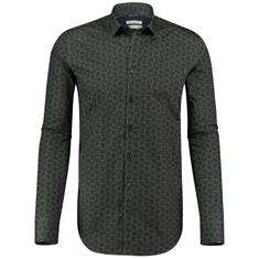 Blue Industry casual overhemden 929-72 in het Donker Groen