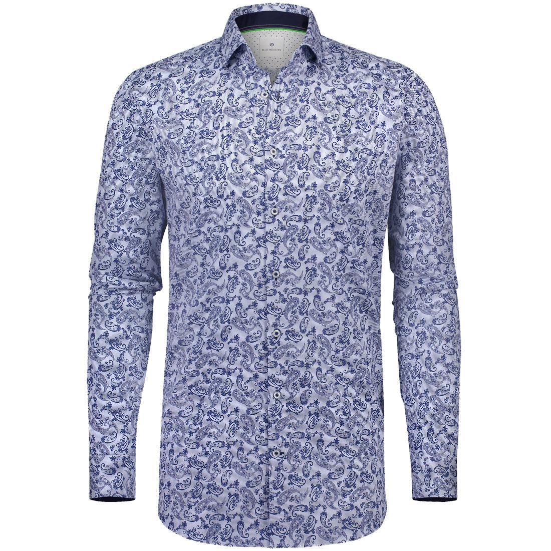 Blue Industry overhemd 1161-82 in het Wit/Blauw