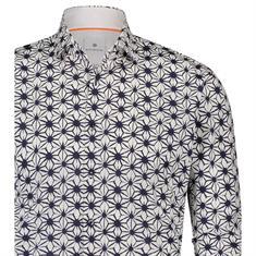 Blue Industry overhemd Slim Fit 1216-91 in het Wit/Blauw