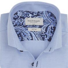 Bruun & Stengade overhemd Slim Fit joker in het Licht Blauw