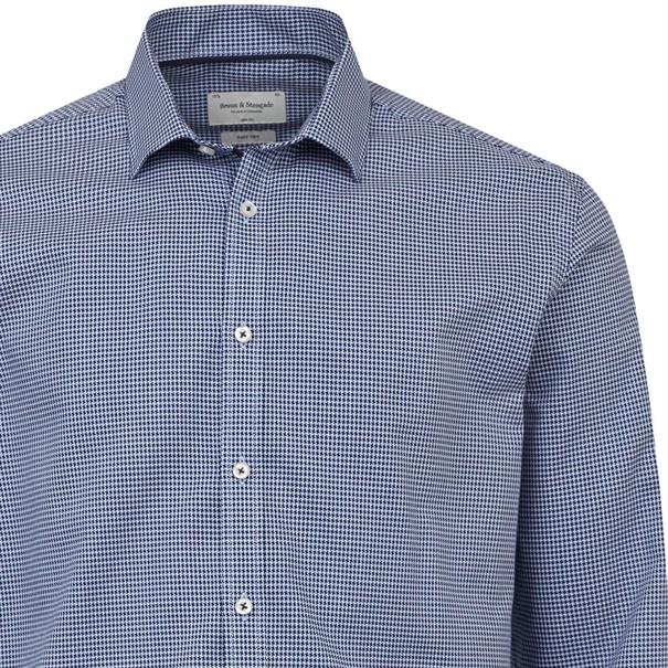 Bruun & Stengade overhemd Slim Fit lennon in het Donker Blauw