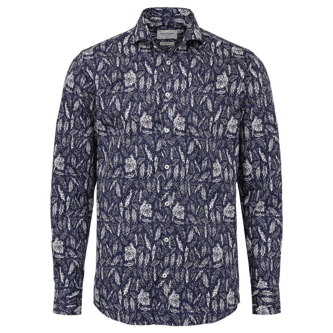 Bruun & Stengade overhemd Slim Fit Pauchard in het Donker Blauw