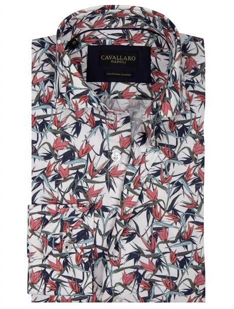 Cavallaro casual overhemd Tailored Fit 1001003 in het Wit
