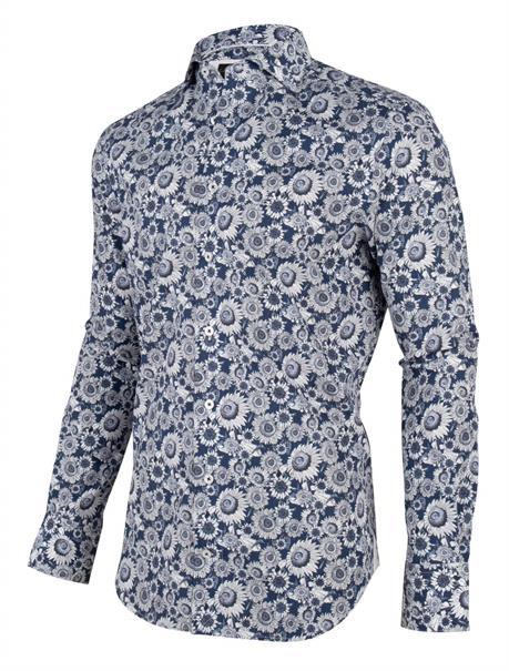 Cavallaro casual overhemd Tailored Fit 1001022 in het Donker Blauw