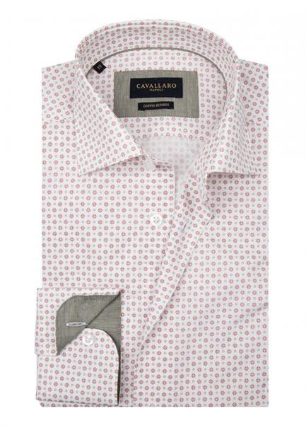 Cavallaro casual overhemd Tailored Fit 1001044 in het Ecru