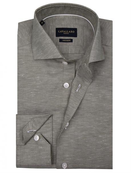 Cavallaro casual overhemd Tailored Fit 1001051 in het Mint Groen