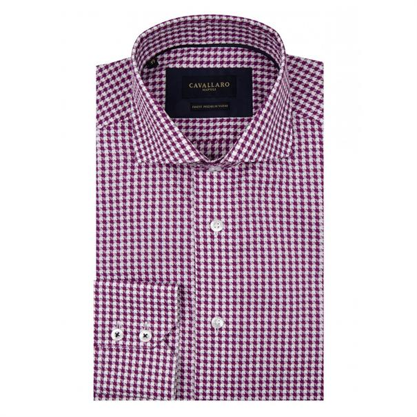 Cavallaro casual overhemd Tailored Fit 1095010-65103 in het Paars