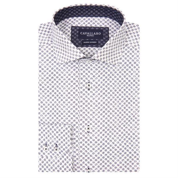 Cavallaro overhemd 1081015 in het Wit/Blauw