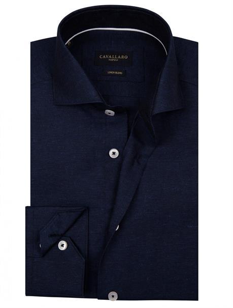 Cavallaro overhemd Tailored Fit 1001049 in het Donker Blauw