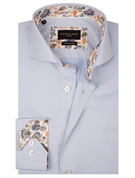 Cavallaro overhemd Tailored Fit 1001059 in het Licht Blauw