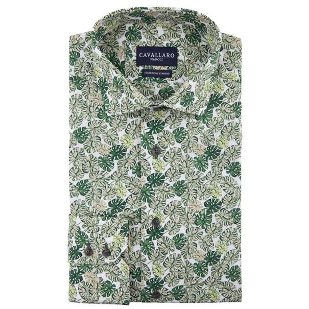 Cavallaro overhemd Tailored Fit 1091047 in het Mint Groen