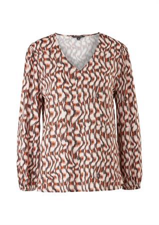 Comma blouse 2104767 in het Zwart / Rood