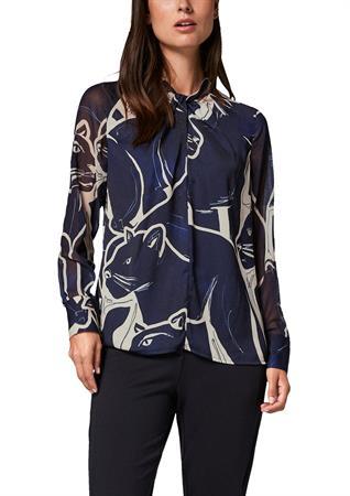 Comma blouse 2106145 in het Donker Blauw