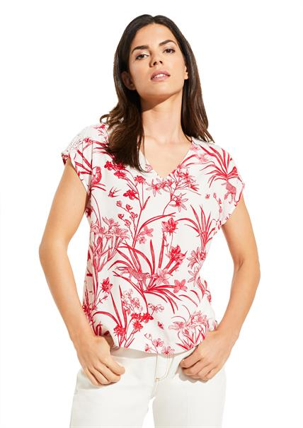 Comma blouse 81004123279 in het Wit/Rood
