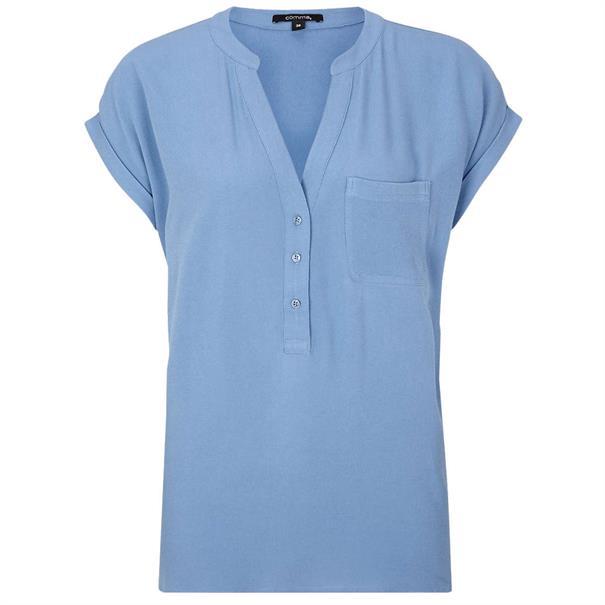 Comma blouse 81904120852 in het Blauw