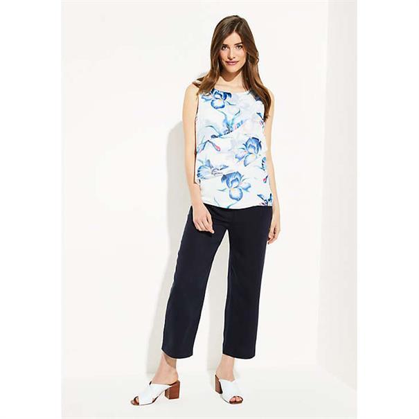 Comma blouse 81905132229 in het Wit/Blauw