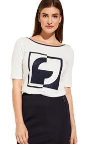 Comma t-shirts 81001323524 in het Wit/Blauw