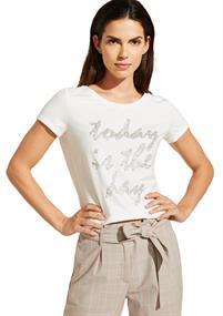 Comma t-shirts 81003323509 in het Wit/Blauw