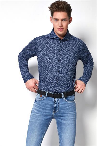 Desoto casual overhemd Slim Fit 38707-3 in het Hemels Blauw