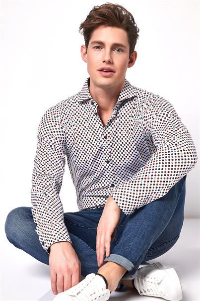 Desoto casual overhemden Slim Fit 38507-3 in het Wit