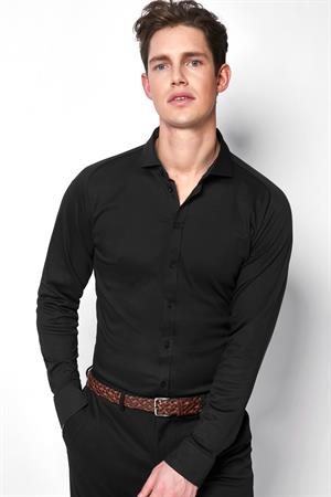 Desoto jersey overhemd Slim Fit 21008-3 in het Zwart