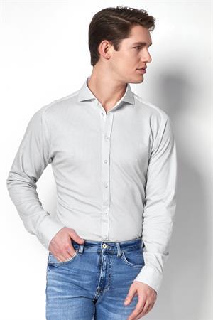 Desoto jersey overhemd Slim Fit 21308-3 in het Licht Grijs