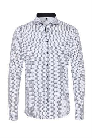 Desoto jersey overhemd Slim Fit 31607-3 in het Wit/Blauw