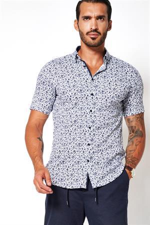 Desoto jersey overhemd Slim Fit 41131-3 in het Blauw