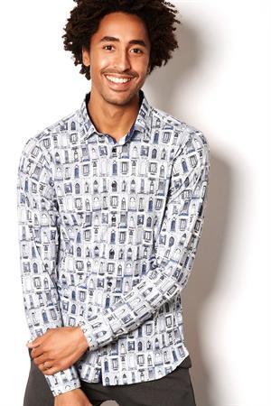 Desoto jersey overhemd Slim Fit 47128-3 in het Licht Blauw