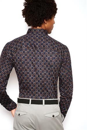 Desoto jersey overhemd Slim Fit 48028-3 in het Roest
