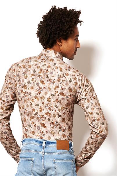 Desoto jersey overhemd Slim Fit 48228-3 in het Roest