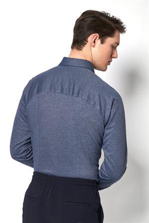 Desoto jersey overhemd Slim Fit 97007-3 in het Blauw